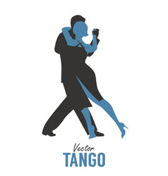 Silhouette of elegant couple dancing tango vector