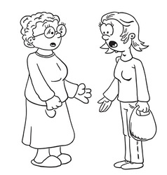 Simple black and white mother and grandmother vector
