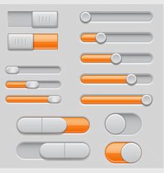 slider bars set of gray orange volume level vector image