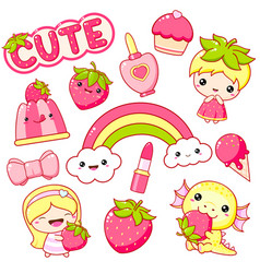 strawberry collection vector image