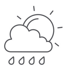 sun and rain thin line icon weather and forecast vector image