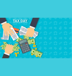 Tax day banner man calculates cost a vector