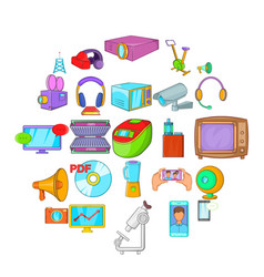 technique icons set cartoon style vector image