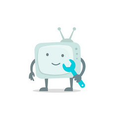 Televisor character with face legs and hands vector