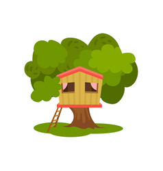 Tree house hut on green tree for kids outdoor vector