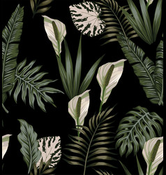 tropical dark white flowers pattern vector image