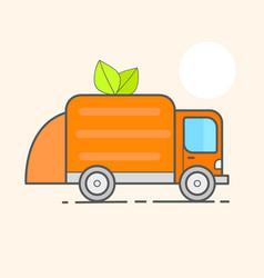 Truck for assembling transportation garbage car vector