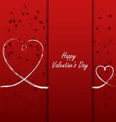Valentines card with white hearts on abstract vector image