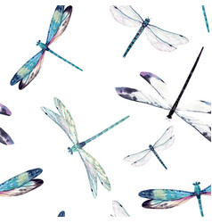 Watercolor dragonfly pattern vector