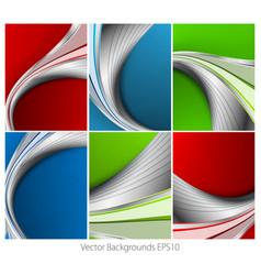 Wavy backgrounds set vector