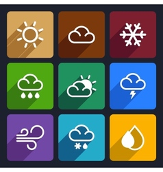 Weather flat icons set 27 vector image