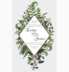 Wedding vertical floral invitation invite card vector