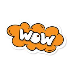 Word text orange wow image vector