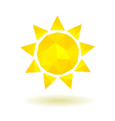 Yellow low poly sun vector