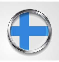 Abstract button with metallic frame Finnish flag vector image vector image