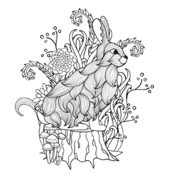 Black and white bunny tree stump wood flowers vector image