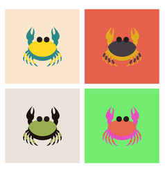 crab in cartoon style seafood product design set vector image