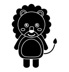 cute lion animal standing cartoon wildlife vector image