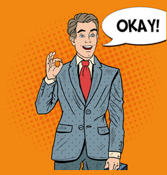 pop art happy businessman gesturing ok vector image vector image