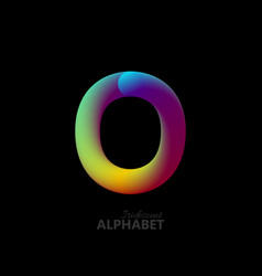 3d iridescent gradient letter o vector image vector image
