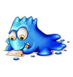 A blue monster writing vector image