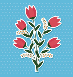 colorful flowers with leaves vector image