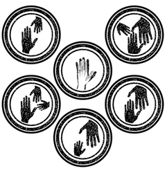 Family concept rubber stamps with hands vector image