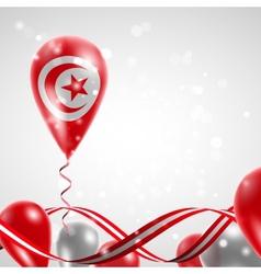 Flag of tunisia on balloon vector
