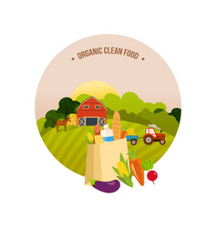 organic clean food farm and farmland village vector image vector image