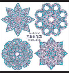 set of four abstract round lace design vector image