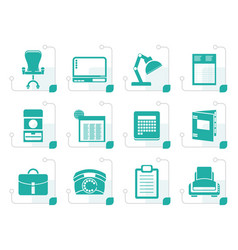stylized simple business office and firm icons vector image