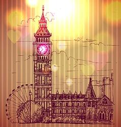World famous landmark series Big Ben London vector image vector image