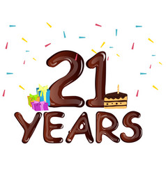 21st anniversary celebration design with gift box vector image vector image