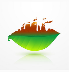 green leaf and dead leaf with factory shape vector image vector image
