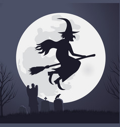 halloween scary witch flying on a broomstick vector image