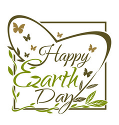 happy earth day green and gold typographic design vector image vector image