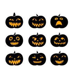 Set of black silhouette pumpkins with eyeball vector
