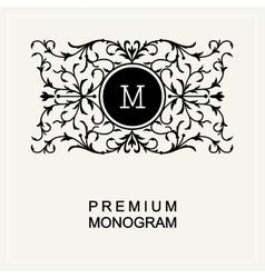 Stylish monogram line art logo Art Nouveau vector image