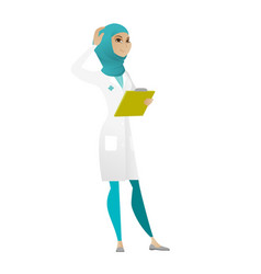 young muslim doctor scratching her head vector image