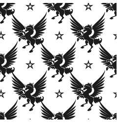 Black unicorn and stars seamless pattern vector