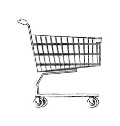 blurred silhouette cartoon shopping cart of vector image