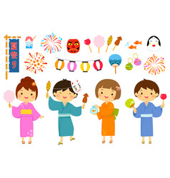 japanese summer festival set vector image vector image