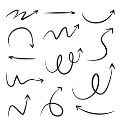 set of hand drawn different arrow doodle style vector image