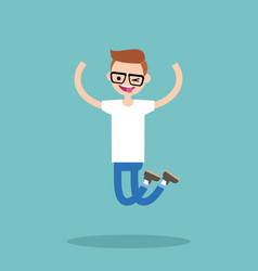 young winking jumping nerd boy flat editable vector image vector image