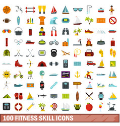 100 fitness skill icons set flat style vector image