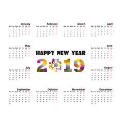 2019 calendar templatestarts mondayyearly vector image