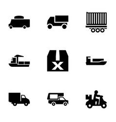 9 shipping icons vector image