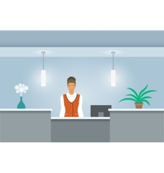 African American Woman receptionist at reception vector image
