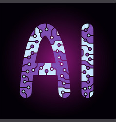 ai artificial intelligence letter logo vector image