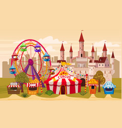 Amusement park a landscape with a circus vector